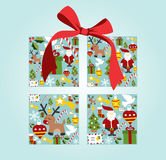 Christmas icon set in gift box shape Stock Image