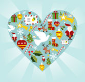 Christmas icon set in heart shape Stock Photography