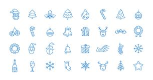 Christmas icons set. Christmas icon set. Linear colored vector icons for Merry Christmas and Happy New Year packages. Linear style Royalty Free Stock Photo