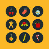 Christmas icon set of nine flat style Stock Photos