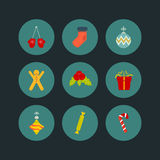 Christmas icon set of nine flat style Royalty Free Stock Images