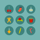 Christmas icon set of nine flat style Stock Image