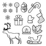 Christmas icon set. Outline vector illustration. Black icon on white background Stock Image
