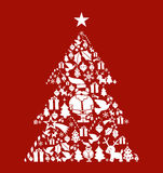 Christmas icon set in pine tree shape Stock Image