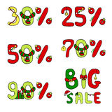 Christmas icon set for sale with symbols percent discount. Vector Christmas icon set for sale with symbols percent discount Royalty Free Stock Image