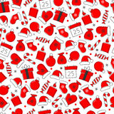 Christmas icon set seamless pattern Stock Image