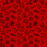 Christmas icon set seamless pattern Stock Photos