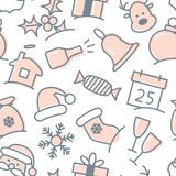 Christmas icon set seamless pattern Royalty Free Stock Photography