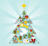 Christmas icon set in season tree shape Stock Photography