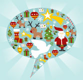 Christmas icon set in speech bubble shape Royalty Free Stock Photography