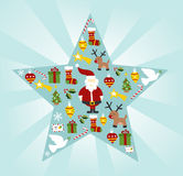 Christmas icon set in star shape Royalty Free Stock Photos