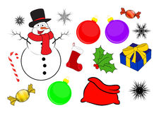 Christmas icon set, symbol, design. Winter vector illustration  on white background. Stock Image
