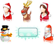 Christmas icon set with users, santa and deer royalty free illustration