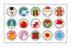Christmas Icon Set - version 1. 15 different colored icons for Christmas. Please check other versions and sets Royalty Free Stock Photo