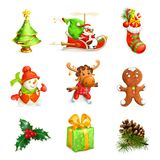 Christmas icon set. On white background vector illustration