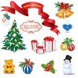 Christmas icon set. Winter New Year Holiday Decor   collection. Royalty Free Stock Image