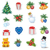 Christmas icon set. Winter New Year Holiday Decor   collection. Royalty Free Stock Images