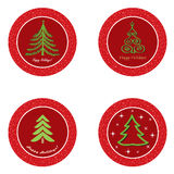 Christmas icon set. Winter New Year Tree   collection. Stock Photography