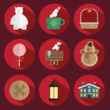 Christmas icon vector red stock photography