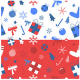 Christmas iconic set blue and red Stock Image