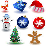 Christmas Icons. Vector illustration of eight colored and different christmas icons isolated on white background Royalty Free Stock Images