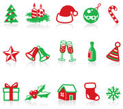 Christmas icons. Minimalistic Christmas icons. Vector illustration Stock Photos