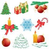 Christmas icons. Nine abstract Christmas icons, illustration Royalty Free Stock Images