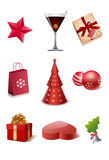 Christmas icons. Illustrated set of different Christmas icons, isolated on white background Stock Photography