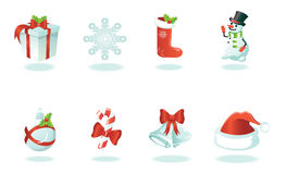 Christmas icons. Eight wonderful Christmas icons with symbols of Christmas Royalty Free Stock Photography