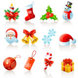 Christmas icons. Set of 12 Christmas icons Royalty Free Stock Photography