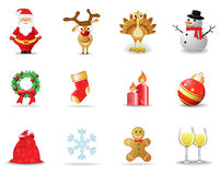 Christmas icons 2. Set of 12 Christmas and New Year icons stock illustration