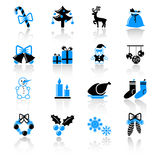 Christmas icons. Set of 16 Christmas icons Royalty Free Stock Images