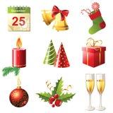 Christmas icons. 9 glossy Christmas icons set Stock Photos