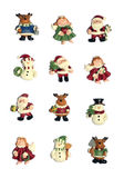 Christmas Icons. Twelve colorful Christmas icons isolated over white Royalty Free Stock Images