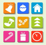 Christmas icons. Colorful icons with Christmas items. Eps10 illustration royalty free illustration