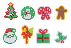 Christmas Icons. Eight colorful Christmas icons isolated over white Stock Photos