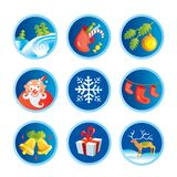 Christmas icons. Illustration of different Christmas themed objects Stock Photos
