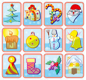 Christmas icons. Illustrations Stock Photography