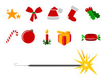 Christmas icons. Set of various colorful Christmas icons on white Royalty Free Stock Photo