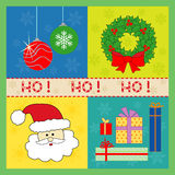 Christmas Icons. Set of Christmas icons - wreath, balls, santa, gifts Royalty Free Stock Images