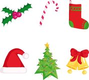 Christmas icons. Six Christmas icons,vector  illustration Stock Photography