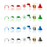 Christmas icons. Collection on white Royalty Free Stock Photo