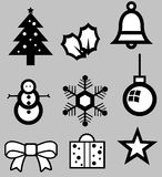 Christmas Icons. Icons representing Christmas symbols accessories and decoration Vector Illustration