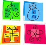 Christmas icons. Selection of abstract style Christmas icons Stock Image