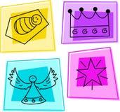 Christmas icons. Selection of christmas icons - baby jesus, kings crown, angel, star of david Stock Image