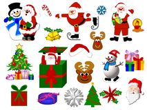 Christmas icons. Multiple icon assortment of colorful Christmas illustrations.  Isolated on a white background Stock Photos