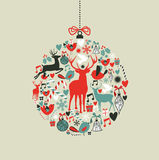 Christmas icons in bauble shape Royalty Free Stock Photography