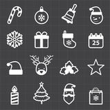 Christmas icons and black background Stock Image