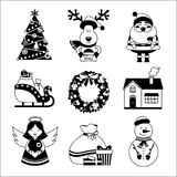 Christmas icons black and white Stock Images