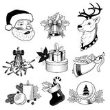 Christmas icons black and white set Stock Photos